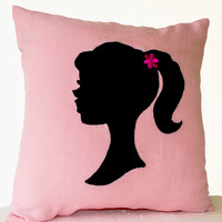 Pink Pillows- Girl Pillow- Light Pink Throw Pillows- Small Pillow- Applique Pillow- Pink Black Pillow-14x14- Gift Pillow- Cute Throw Pillows