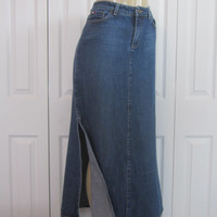 Vintage Long Denim Skirt, Long Jean Skirt, Tommy Hilfiger 90s Grunge Denim Skirt, Womens Modest Maxi Skirt