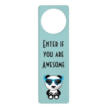 Cool and cute panda bear with sunglasses Door hanger by PLdesign