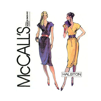 1980s Vintage Sewing Pattern Halston Wrap Dress 34, 36 Bust McCalls 7012 Shaped Hem, Kimono Sleeve, Wrap Dress for Day to Evening Wear