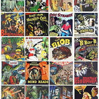vintage monster creature horror movies clip art collage sheet 2 inch squares digital instant download printable graphics images