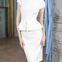 Ruffle Waisted Pencil Dress - Custom Sizing
