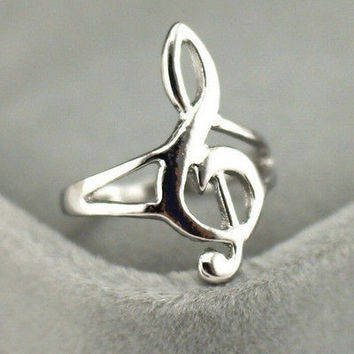 Fashion Silver Color Musical Music Note Ring Treble Clef Ring Jewelry Gift HU