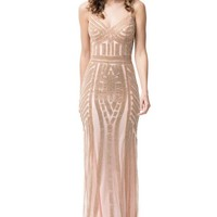 V-Neck Sleeveless Long Evening Dress