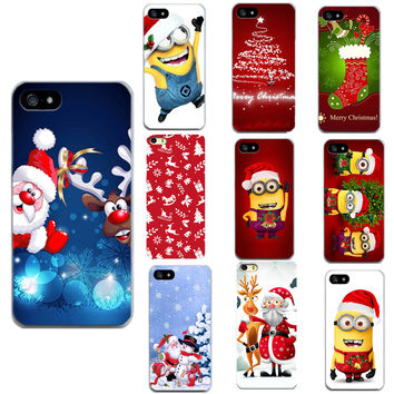 Minion Christmas New Year Phone Case Cover For Apple iPhone 4 4S 5 5S 6 6S 7 7Plus Cases Luxury Series Fashion For Phone Shell