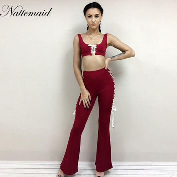 Spring women sets 2 pieces long pants suit o neck tank tops Red trousers Sexy holiday beach wear
