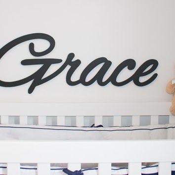 "Extra large Wooden name sign 11 - 12 "" letters Baby Name Plaque  PAINTED nursery name nursery decor wooden wall art, above a crib"