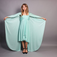 70s Glam DRAPED Cape DRESS / Mint Goddess Jack Bryan  Statement Dress