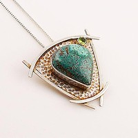 Blue Turquoise & Peridot Sterling Pendant