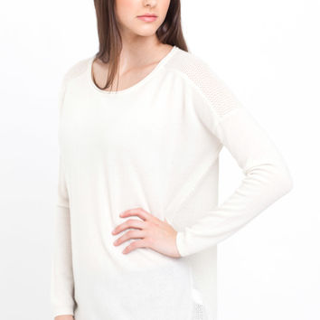 Vince Cashmere Boatneck Sweater in Winter White