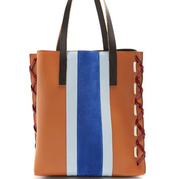 Museum suede and leather stripe tote bag | Marni | MATCHESFASHION.COM US