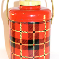 Vintage Standard Corporation Red Plaid Thermos Jug