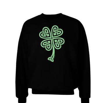 Celtic Knot 4 Leaf Clover St Patricks Adult Dark Sweatshirt