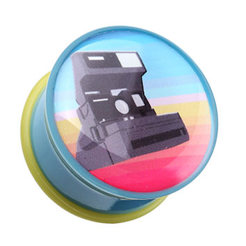 Retro Polaroid Camera Single Flared Ear Gauge Plug