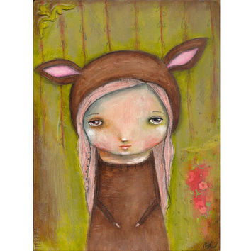 Whimsical painting folk art painting original deer painting Mixed media woodland painting on wood - Hidden Forest
