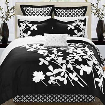 Chic Home Iris 7-Piece Comforter Set with Four Shams and Decorative Pillow, Queen Size, Turquoise, Bedskirt