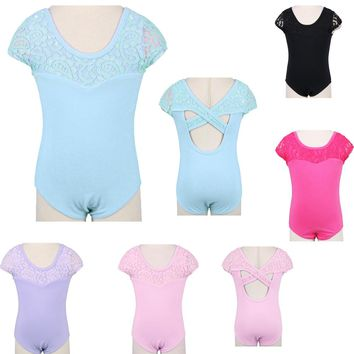 One-Piece 3~12Y Toddlers& Teen Girls' Ballet Unitards/ Gymnastics Leotard Cotton Sleeveless Ballet Dancewear with Lace Shoudler