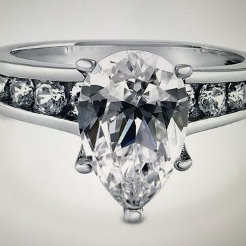A Flawless 3CT Pear Cut Solitaire Russian Lab Diamond Engagement Ring
