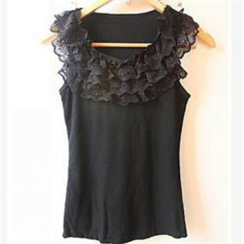 New Casual Women Tanks Vest Camisole Solid Three-Layers Lace Neck Tanks Tops Women/Brand Summer Women Clothing