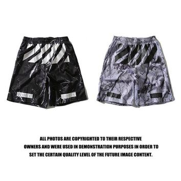 VONE6LI Off White Sports  Casual Pants Shorts Print Permeable Basketball [415654379556]