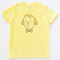 Kids Bow Tie Puppy Tee Shirt | Lemon Yellow