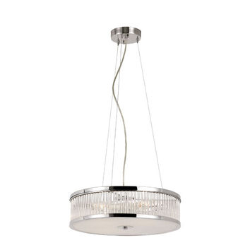 Trans Globe Lighting 10153 PC Crystal Sun Polished Chrome 16-Inch 4 Light Adjustable Pendant with Clear Crystal Tapers