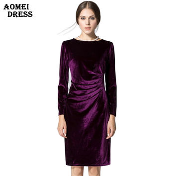 Women Wine Redding Shift Dresses Winter Velvet Warm Vestidos Robes Long Sleeves Casual Knee Length Office Work Plus size Dress