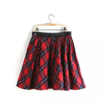 Plaid Print PU Patchwork Woolen Mini Pleated Skirts