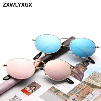 Luxury Retro Small Metal Frame Steampunk Sunglasses Men Women Vintage Oval Sun Glasses Vintage Mirror oculos de sol