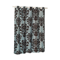 Park Avenue Deluxe Collection EZ-ON?  inch Beacon Hill inch  Polyester Shower Curtain in Chocolate on Spa Blue