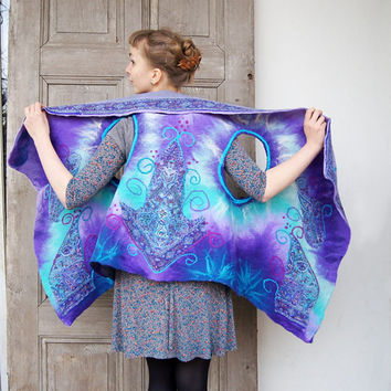 Unique felted vest, reversible wool and silk vest in purple and turquoise colors, wearable art fashion. OOAK
