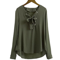 Army Green Long Sleeve Lace-Up Top