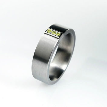 Yellow diamond ring, titanium band, white gold, yellow gold, mens wedding band, men yellow diamond ring, unique, men titanium band