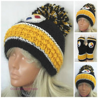 Pittsburgh Steelers Knit Hat Slouchy Beanie Hat Chunky Winter Hat Unisex Slouchy Hat Big Pom Pom Black Yellow White