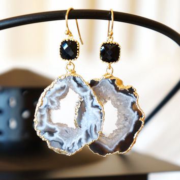 Glimmering Starry Night Geode Druzy Earring, Agate Geode, Geode Earrings