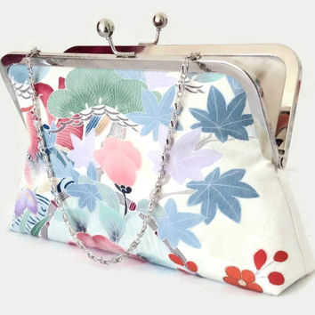 "Floral Silk Clutch Purse In Pastel Colours, Bridal Clutch Purse In Ivory Pink And Blue, Clutch Bag Made From Japanese Kimono Silk 9"" x 5.5"""
