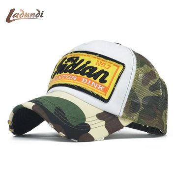 Trendy Winter Jacket Summer Camo Baseball Cap Women Men Camouflage Baseball Hats Snapback Bone icon Trucker mesh Cap Pentagram Dad Casquette Hat AT_92_12