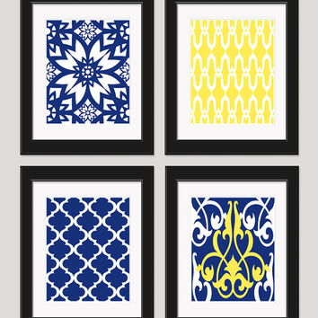 Yellow Navy Blue Art, Yellow Blue Wall Art, Home Decor, Set of 4 - 8x10 Prints, Yellow Navy Bedroom Art, Kitchen Art, Yellow Wall Art