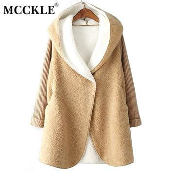MCCKLE Women Long Hooded Lambswool Patchwork Loose Oversize Cardigans 2018 Autumn Winter Fashion Women Knitted Outwear Coat