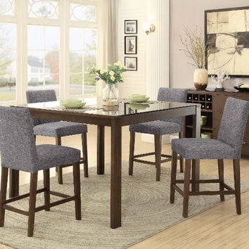 Home Elegance HE-5525-36-5PC 5 pc Fielding brown finish wood black inset glass counter height dining table set