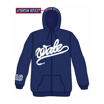 Wale Men's  #10 Zippered Hooded Sweatshirt Blue Rockabilia