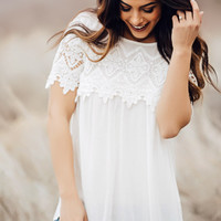 Ivory Sheer Blouse with Lace Trim