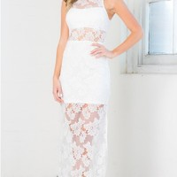 Float On By Maxi Dress in White Lace