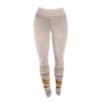 "Iris Lehnhardt ""Hazy Sunrise"" Pink Yoga Leggings"