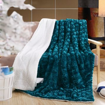 DaDa Bedding Mermaid Scales Lavish Luxe Soft Warm Cozy Plush Reversible Faux Fur with Sherpa Backside Fleece Throw Blanket - Bright Vibrant Embossed Textured Solid Green Blue Teal & White Back Print (BL-171805)