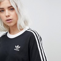 adidas Originals adicolor Three Stripe T-Shirt In Black at asos.com