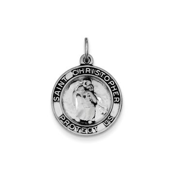 Sterling Silver Round Antiqued St. Christopher Medal Pendant