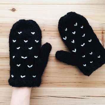 Black Knit Mittens, Pure Wool Gloves, Chunky Knitwear, Christmas Gift