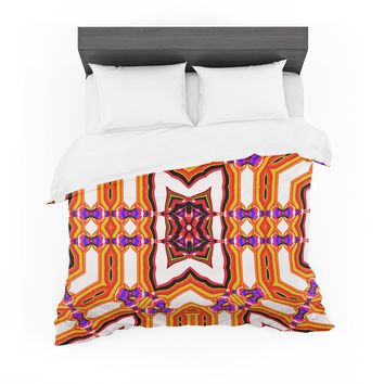 """Dawid Roc """"Inspired By Psychedelic Art 4"""" Orange Abstract Featherweight Duvet Cover"""