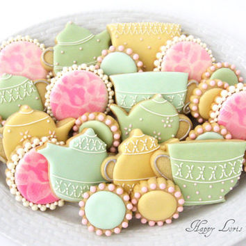 Tea Party Cookies Wedding Shower Flower Lace Tea Cup Pot Kettle Decorated Royal Icing Sugar Cookies